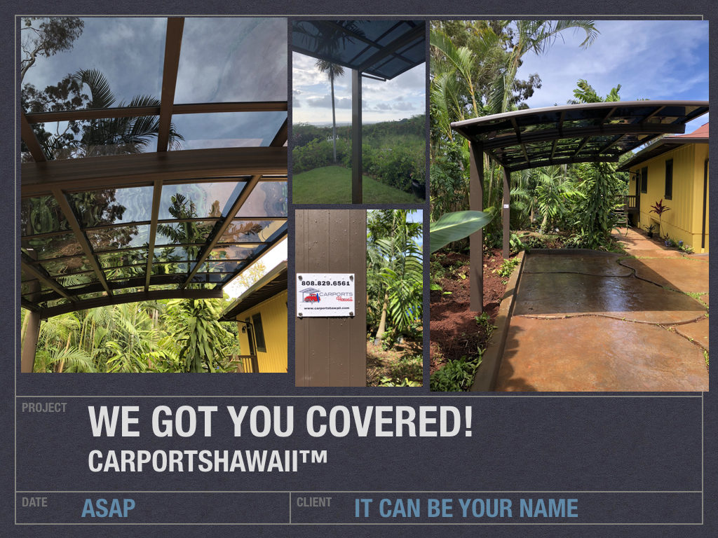 carports hawaii in Kailua Kona, picture of single aluminum carport installation