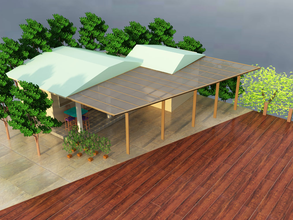 Aluminum Patio Cover Hawaii structure with the polycarbonate panels