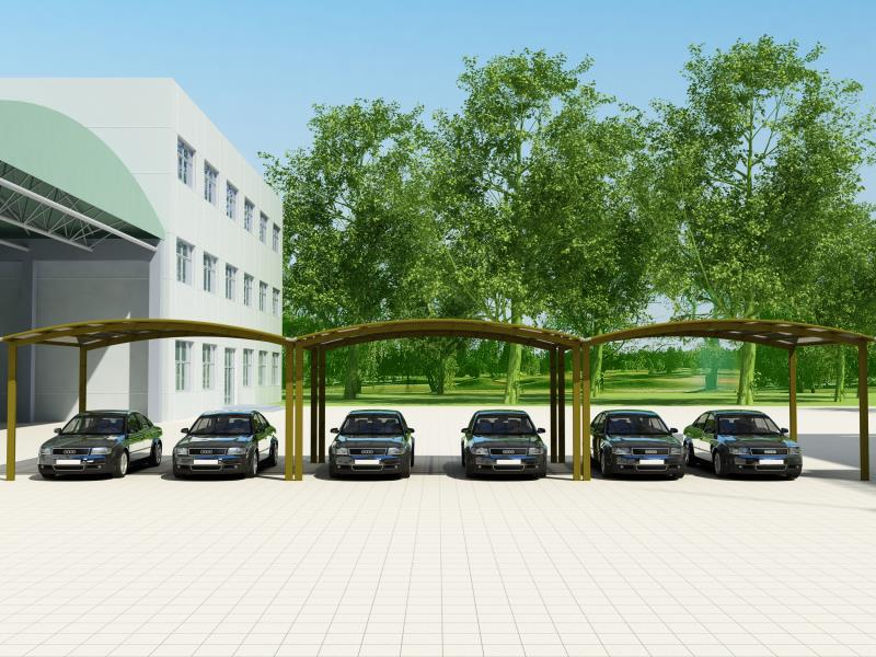 Comercial Carport visualization, aluminum and polycarbonate panels
