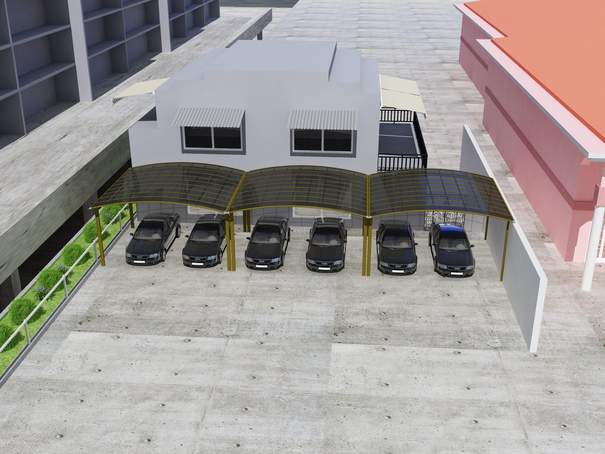 Comercial Carport visualization, aluminum and polycarbonate panels