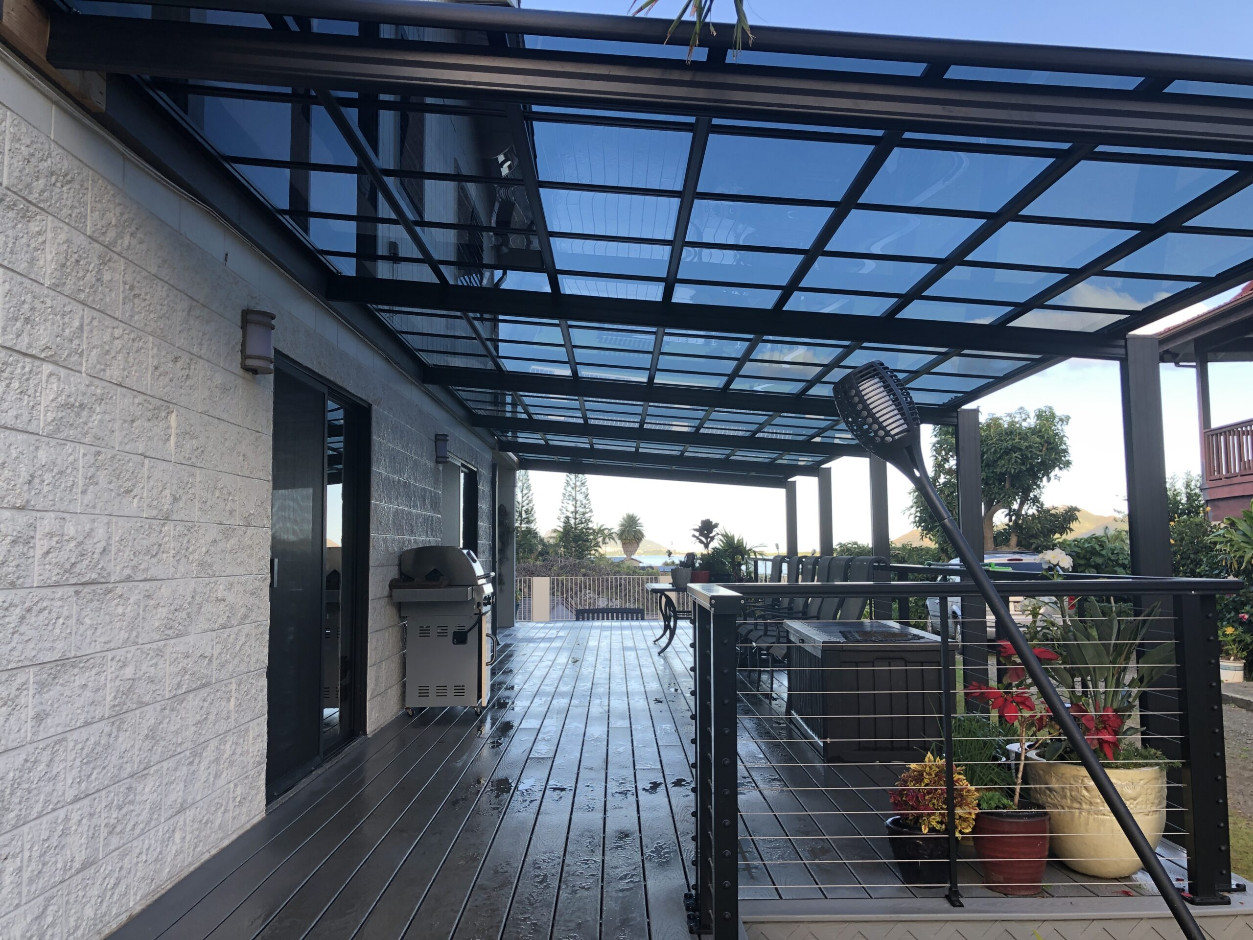 Dark Aluminum frame Patio Cover Hawaii