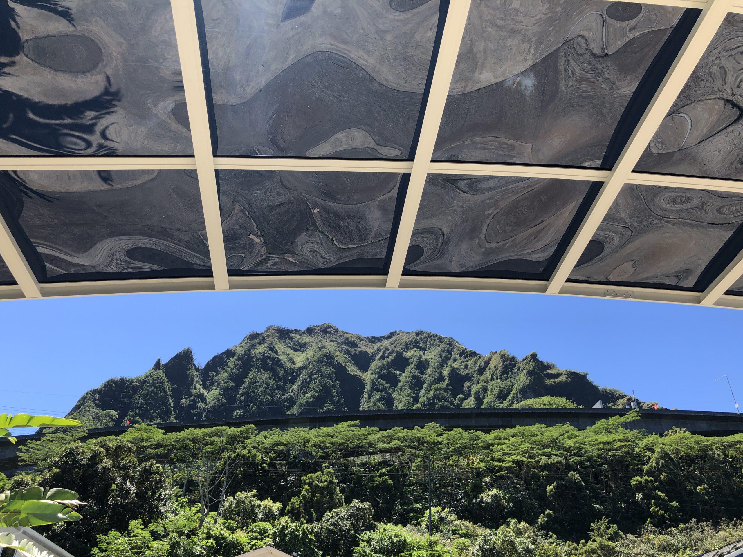 Carports Hawaii, custom carport structure, white aluminum frame with dark polycarbonate roof panels